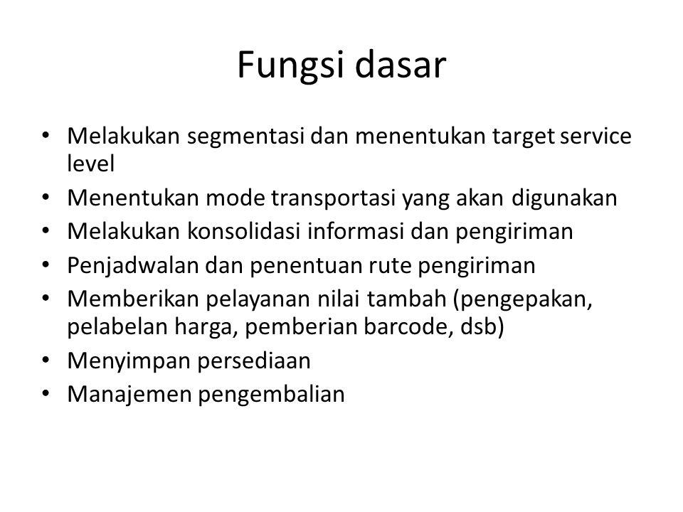 Fungsi dasar • Melakukan segmentasi dan menentukan target service level • Menentukan mode transportasi yang akan digunakan • Melakukan konsolidasi inf