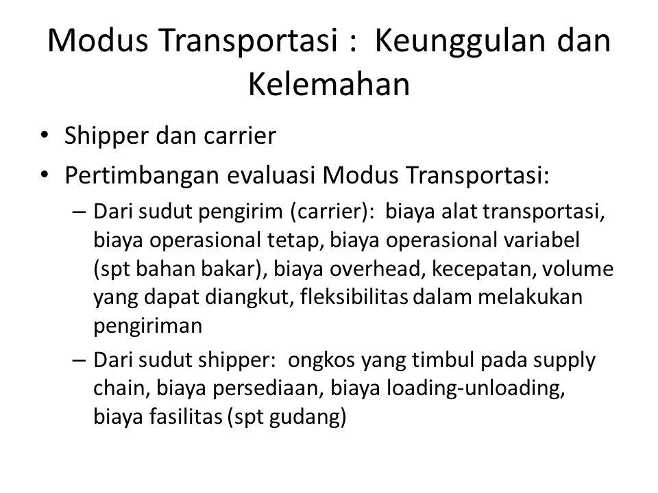 Modus Transportasi : Keunggulan dan Kelemahan • Shipper dan carrier • Pertimbangan evaluasi Modus Transportasi: – Dari sudut pengirim (carrier): biaya alat transportasi, biaya operasional tetap, biaya operasional variabel (spt bahan bakar), biaya overhead, kecepatan, volume yang dapat diangkut, fleksibilitas dalam melakukan pengiriman – Dari sudut shipper: ongkos yang timbul pada supply chain, biaya persediaan, biaya loading-unloading, biaya fasilitas (spt gudang)