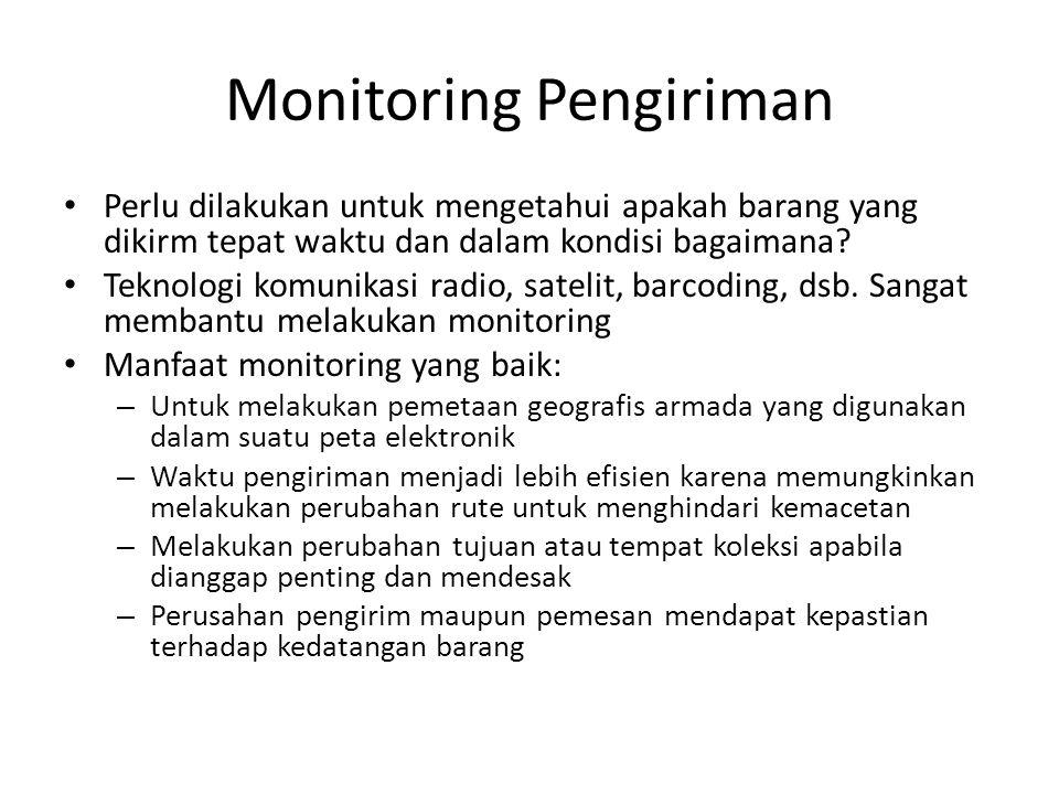 Monitoring Pengiriman • Perlu dilakukan untuk mengetahui apakah barang yang dikirm tepat waktu dan dalam kondisi bagaimana.
