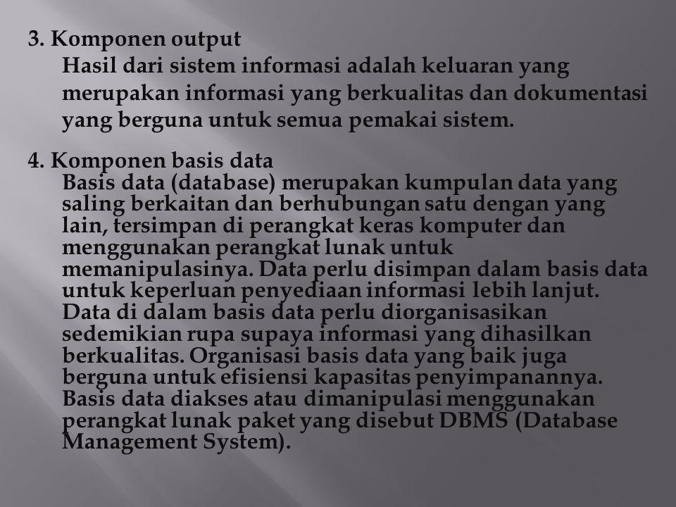 3. Komponen output Hasil dari sistem informasi adalah keluaran yang merupakan informasi yang berkualitas dan dokumentasi yang berguna untuk semua pema