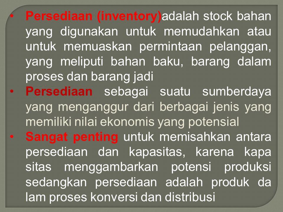 •Persediaan (inventory)adalah stock bahan yang digunakan untuk memudahkan atau untuk memuaskan permintaan pelanggan, yang meliputi bahan baku, barang