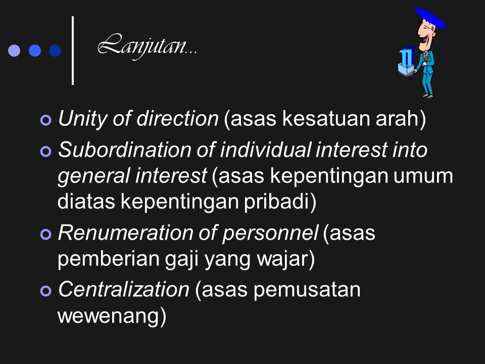 Azas Manajemen (Henry Fayol)  Division of work ( azas pembagian kerja)  Authority & responsibility (azas wewenang dan tanggung jawab)  Discipline (