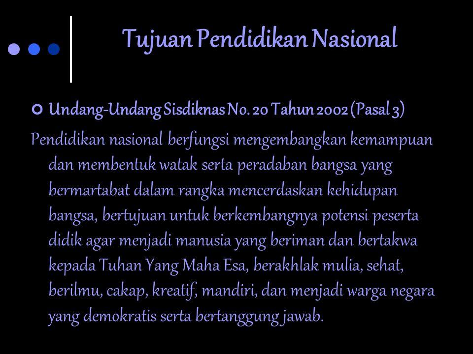 """Tujuan Pendidikan Nasional  Undang-undang Sisdiknas No. 2 Thn 1989, yaitu: """"Mencerdaskan kehidupan bangsa dan mengembangkan manusia Indonesia seutuhn"""