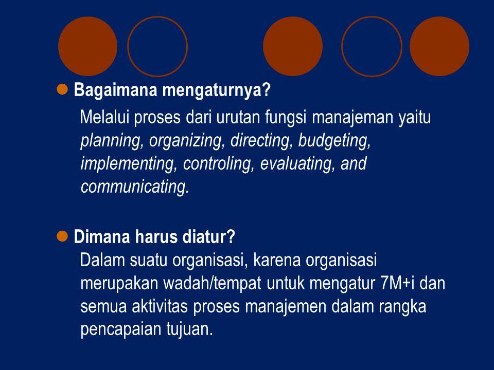  Kenapa harus diatur? Agar 7m+i lebih berdaya guna (efisien), berhasil guna (efektif), terintegrasi, dan terkoordinasi dalam mencapai tujuan yang opt