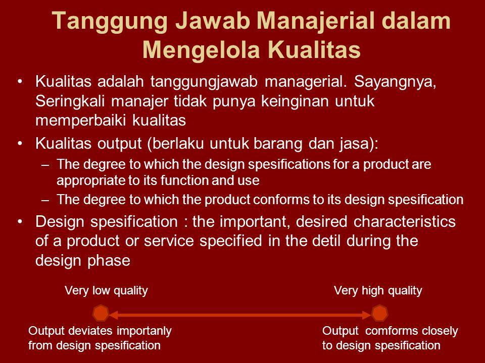Tanggung Jawab Manajerial dalam Mengelola Kualitas •Kualitas adalah tanggungjawab managerial.