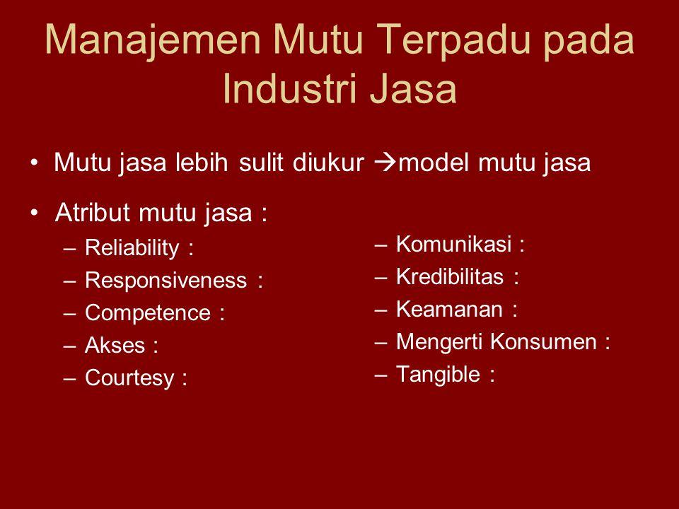 Manajemen Mutu Terpadu pada Industri Jasa •Atribut mutu jasa : –Reliability : –Responsiveness : –Competence : –Akses : –Courtesy : –Komunikasi : –Kredibilitas : –Keamanan : –Mengerti Konsumen : –Tangible : • Mutu jasa lebih sulit diukur  model mutu jasa
