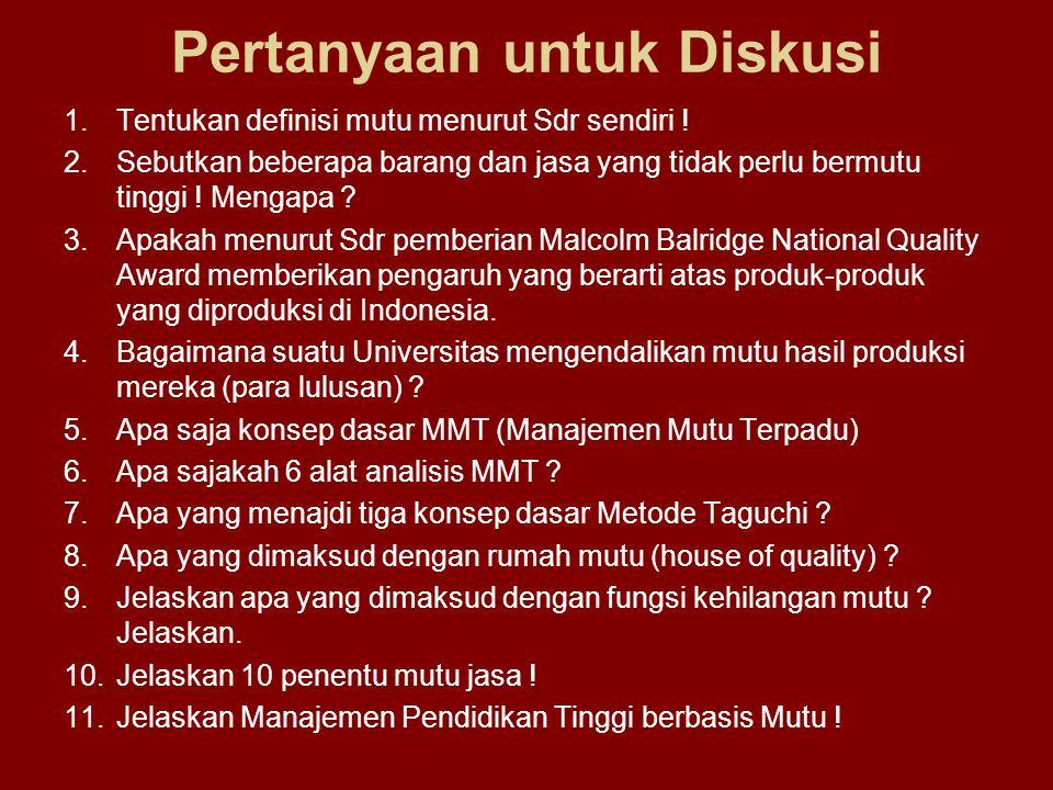Pertanyaan untuk Diskusi 1.Tentukan definisi mutu menurut Sdr sendiri .