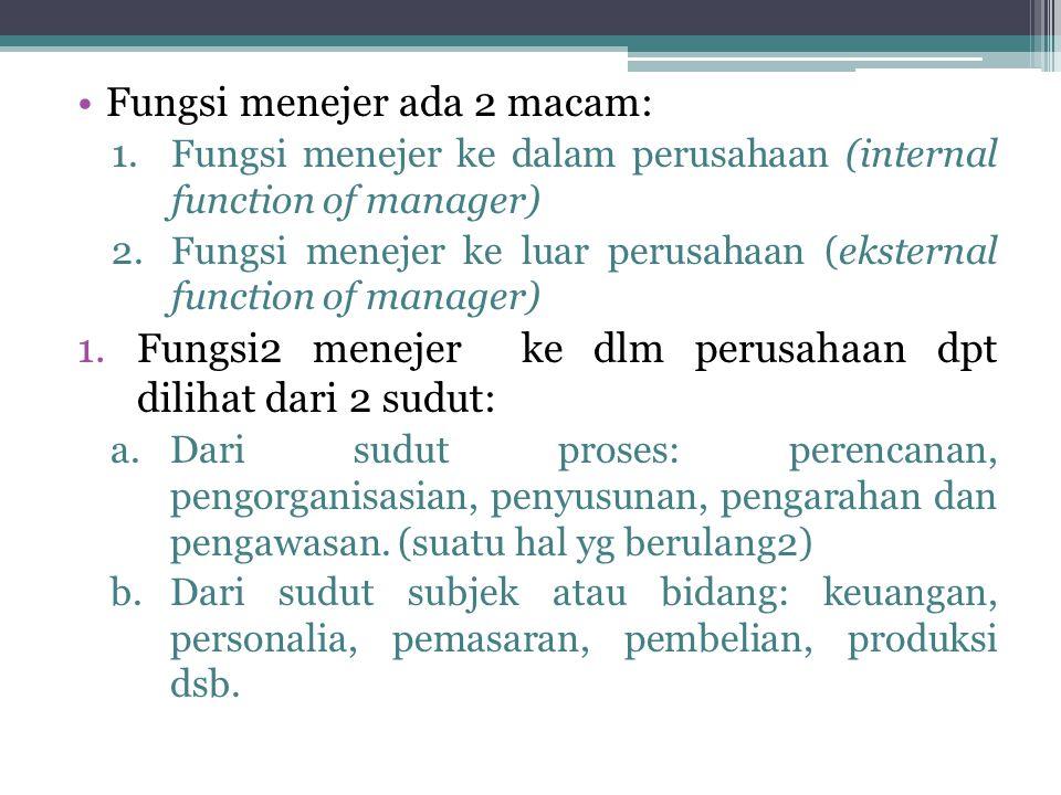 •Fungsi menejer ada 2 macam: 1.Fungsi menejer ke dalam perusahaan (internal function of manager) 2.Fungsi menejer ke luar perusahaan (eksternal functi