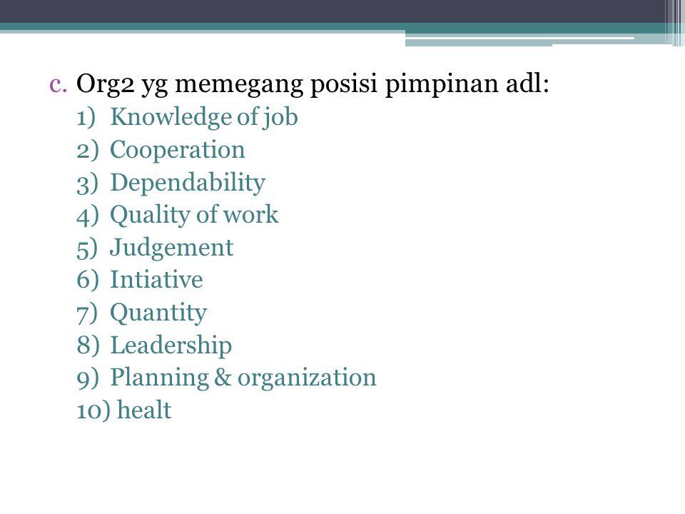 c.Org2 yg memegang posisi pimpinan adl: 1)Knowledge of job 2)Cooperation 3)Dependability 4)Quality of work 5)Judgement 6)Intiative 7)Quantity 8)Leadership 9)Planning & organization 10) healt