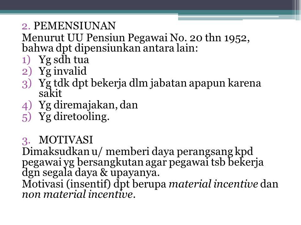 2.PEMENSIUNAN Menurut UU Pensiun Pegawai No. 20 thn 1952, bahwa dpt dipensiunkan antara lain: 1)Yg sdh tua 2)Yg invalid 3)Yg tdk dpt bekerja dlm jabat