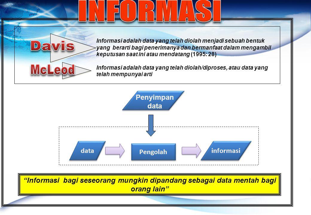 Informasi adalah data yang telah diolah menjadi sebuah bentuk yang berarti bagi penerimanya dan bermanfaat dalam mengambil keputusan saat ini atau mendatang (1995: 28) Informasi adalah data yang telah diolah/diproses, atau data yang telah mempunyai arti data Pengolah informasi Penyimpan data Informasi bagi seseorang mungkin dipandang sebagai data mentah bagi orang lain