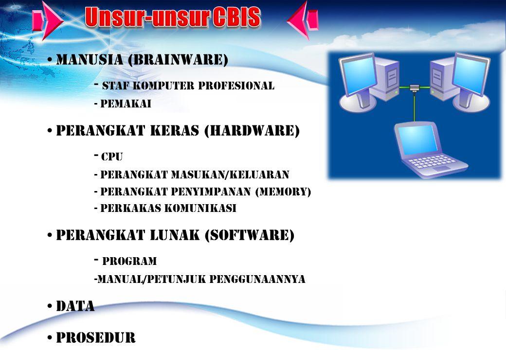 • Manusia (Brainware) - Staf Komputer profesional - Pemakai • Perangkat Keras (Hardware) - CPU - Perangkat Masukan/keluaran - Perangkat Penyimpanan (memory) - Perkakas Komunikasi • Perangkat lunak (Software) - Program -Manual/petunjuk penggunaannya • Data • Prosedur