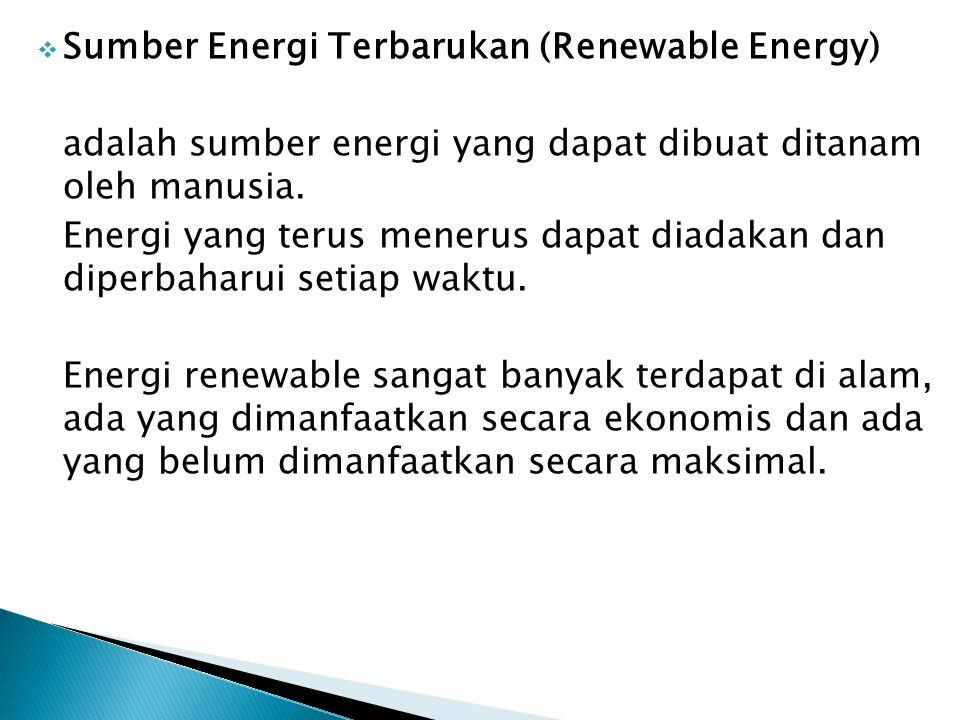  Keterbatasan penyediaan minyak bumi dikarenakan sifatnya yang tidak dapat diperbaharui dan pentingnya sumber energi tersebut untuk devisa negara, akan mendorong kearah pemakaian sumber energi renewable yang dapat dikelompokkan menjadi sbb :