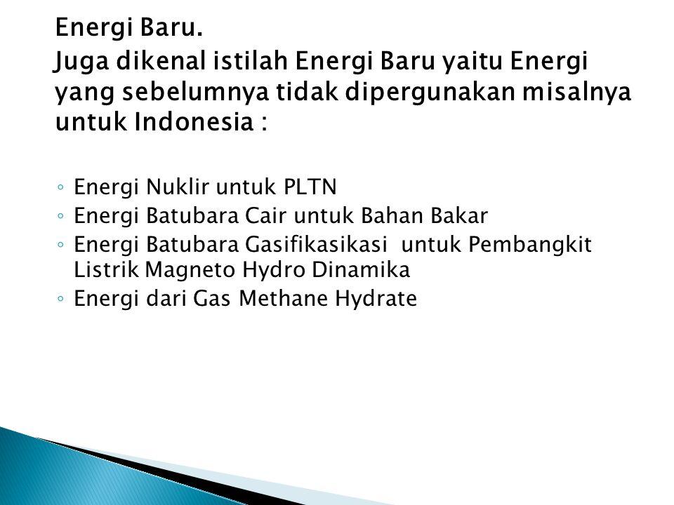 Pemanfaatan Energi Baru dan Terbarukan di Indonesia (MW) Jenis Energi19961999 Panas Bumi309.5886.94 Mikrohidro20.8537,42 Surya0.8851,48 Angin0.380.88 Biomassa177,85212.85 Gambut0100 Total EBT509.461289,57 Total Kebutuhan Energi Nasional *) 99745,81120963,13 Kontribusi terhadap Kebutuhan energi nasional 0,51%1.07%