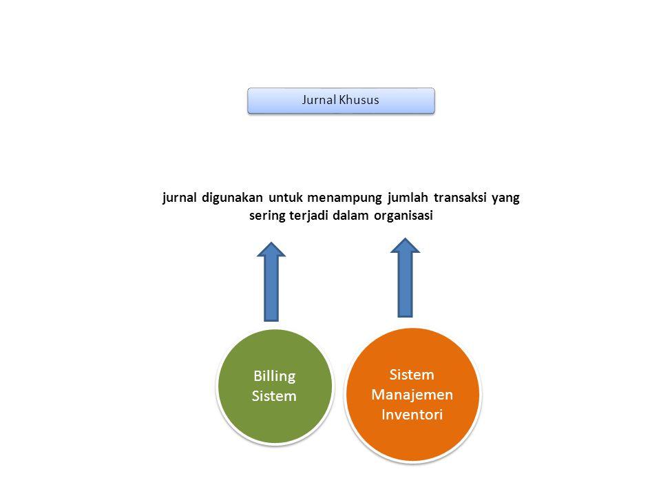 Jurnal Khusus jurnal digunakan untuk menampung jumlah transaksi yang sering terjadi dalam organisasi Sistem Manajemen Inventori Billing Sistem Informa