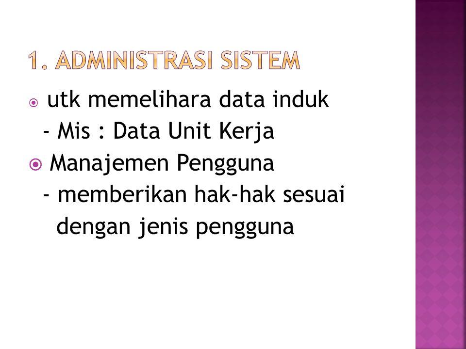  Menghasilkan laporan-laporan manajemen - Mis : Jumlah Pegawai; Informasi Pendidikan; Informasi Diklat yang pernah diikuti; Informasi Jabatan/pangkat