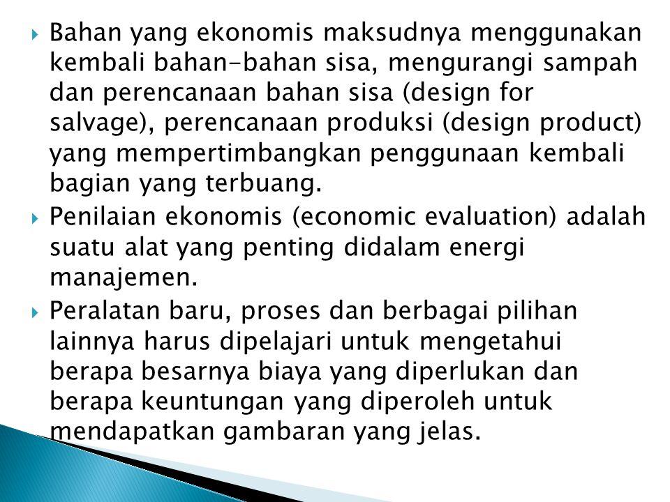 Bahan yang ekonomis maksudnya menggunakan kembali bahan-bahan sisa, mengurangi sampah dan perencanaan bahan sisa (design for salvage), perencanaan p