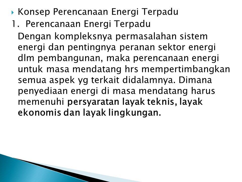  Konsep Perencanaan Energi Terpadu 1. Perencanaan Energi Terpadu Dengan kompleksnya permasalahan sistem energi dan pentingnya peranan sektor energi d