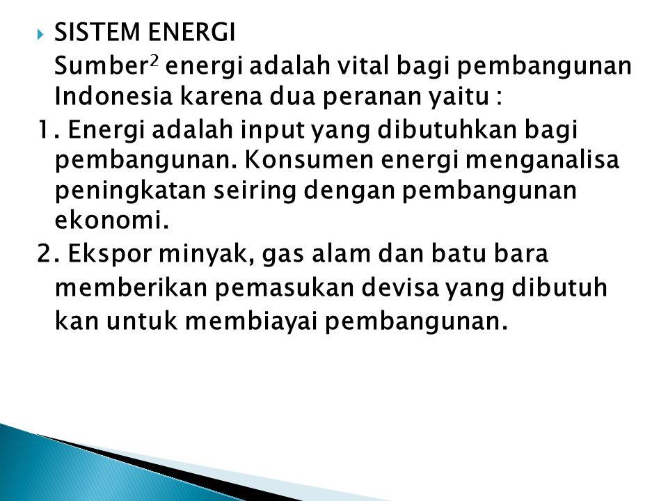  SISTEM ENERGI Sumber 2 energi adalah vital bagi pembangunan Indonesia karena dua peranan yaitu : 1. Energi adalah input yang dibutuhkan bagi pembang