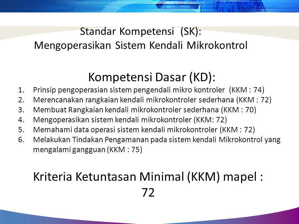 Standar Kompetensi (SK): Mengoperasikan Sistem Kendali Mikrokontrol Kompetensi Dasar (KD): 1.Prinsip pengoperasian sistem pengendali mikro kontroler (