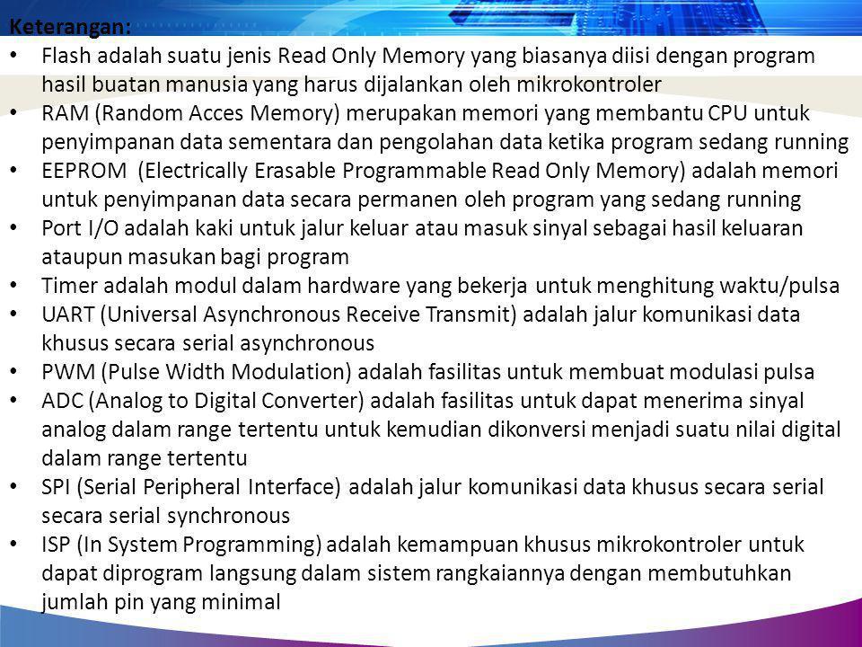 Keterangan: • Flash adalah suatu jenis Read Only Memory yang biasanya diisi dengan program hasil buatan manusia yang harus dijalankan oleh mikrokontro