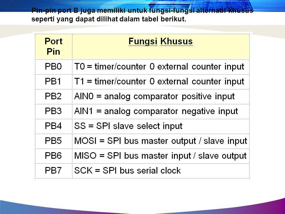 Pin-pin port B juga memiliki untuk fungsi-fungsi alternatif khusus seperti yang dapat dilihat dalam tabel berikut.