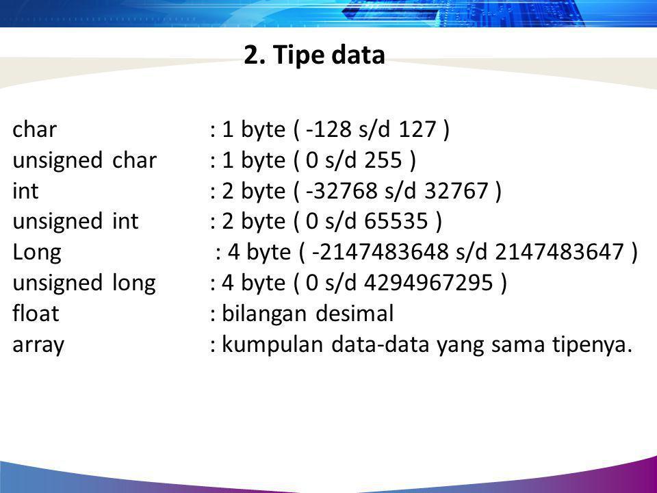 char : 1 byte ( -128 s/d 127 ) unsigned char : 1 byte ( 0 s/d 255 ) int : 2 byte ( -32768 s/d 32767 ) unsigned int : 2 byte ( 0 s/d 65535 ) Long : 4 b