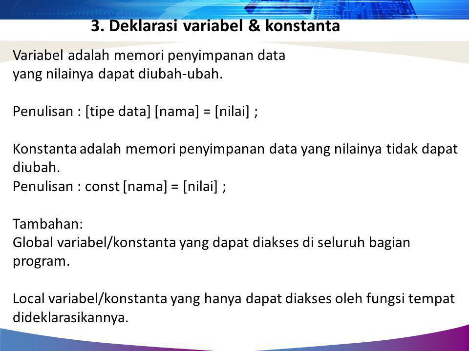Variabel adalah memori penyimpanan data yang nilainya dapat diubah-ubah. Penulisan : [tipe data] [nama] = [nilai] ; Konstanta adalah memori penyimpana