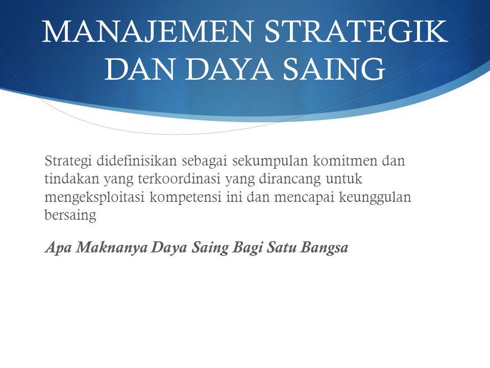 MANAJEMEN STRATEGIK DAN DAYA SAING Strategi didefinisikan sebagai sekumpulan komitmen dan tindakan yang terkoordinasi yang dirancang untuk mengeksploi