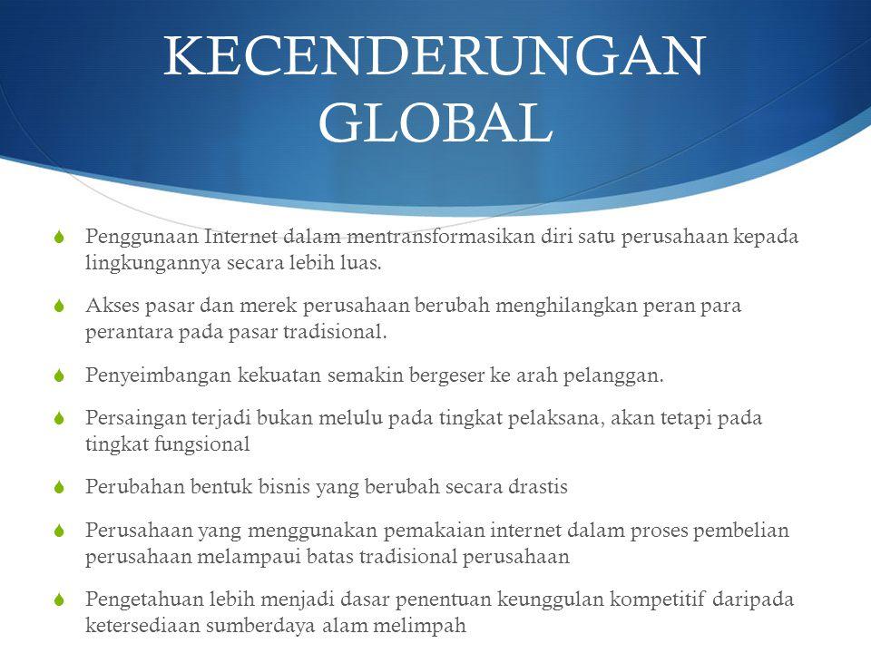 KECENDERUNGAN GLOBAL  Penggunaan Internet dalam mentransformasikan diri satu perusahaan kepada lingkungannya secara lebih luas.  Akses pasar dan mer