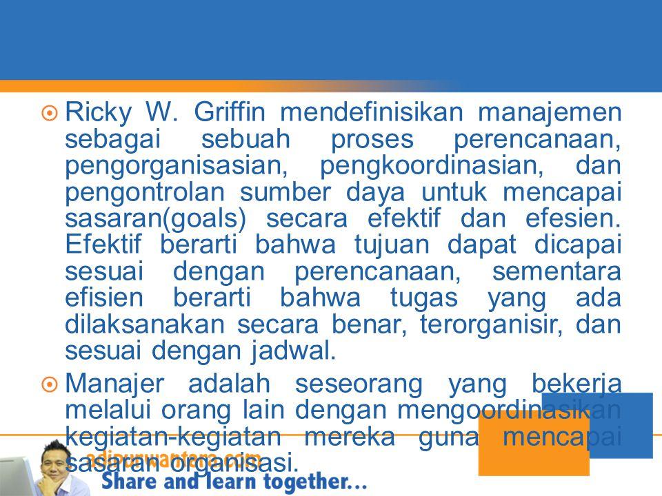  Ricky W. Griffin mendefinisikan manajemen sebagai sebuah proses perencanaan, pengorganisasian, pengkoordinasian, dan pengontrolan sumber daya untuk