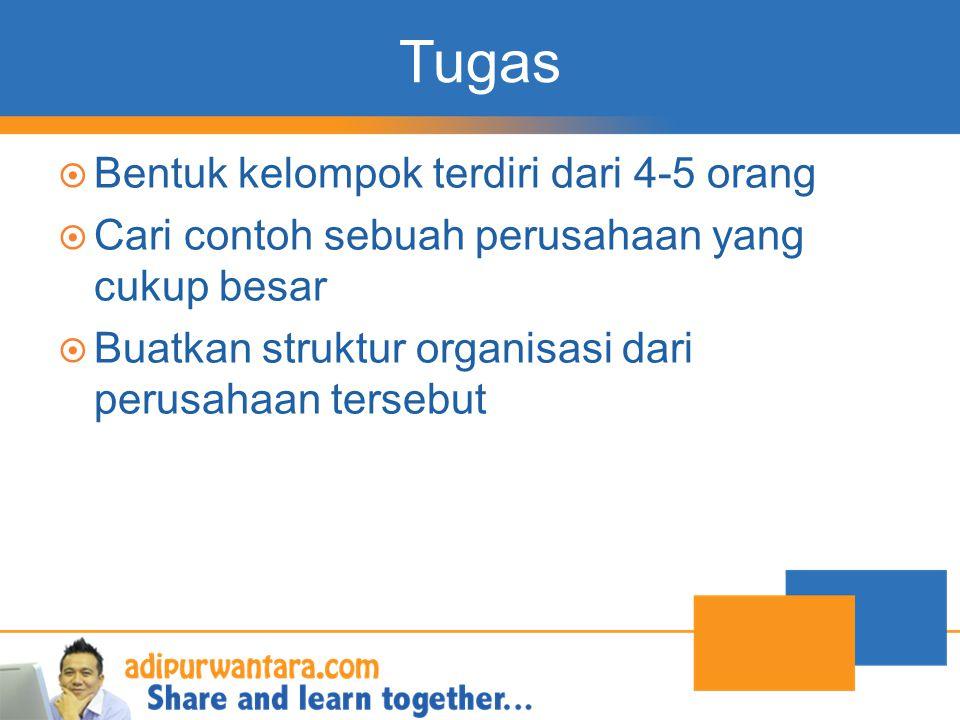 Tugas  Bentuk kelompok terdiri dari 4-5 orang  Cari contoh sebuah perusahaan yang cukup besar  Buatkan struktur organisasi dari perusahaan tersebut