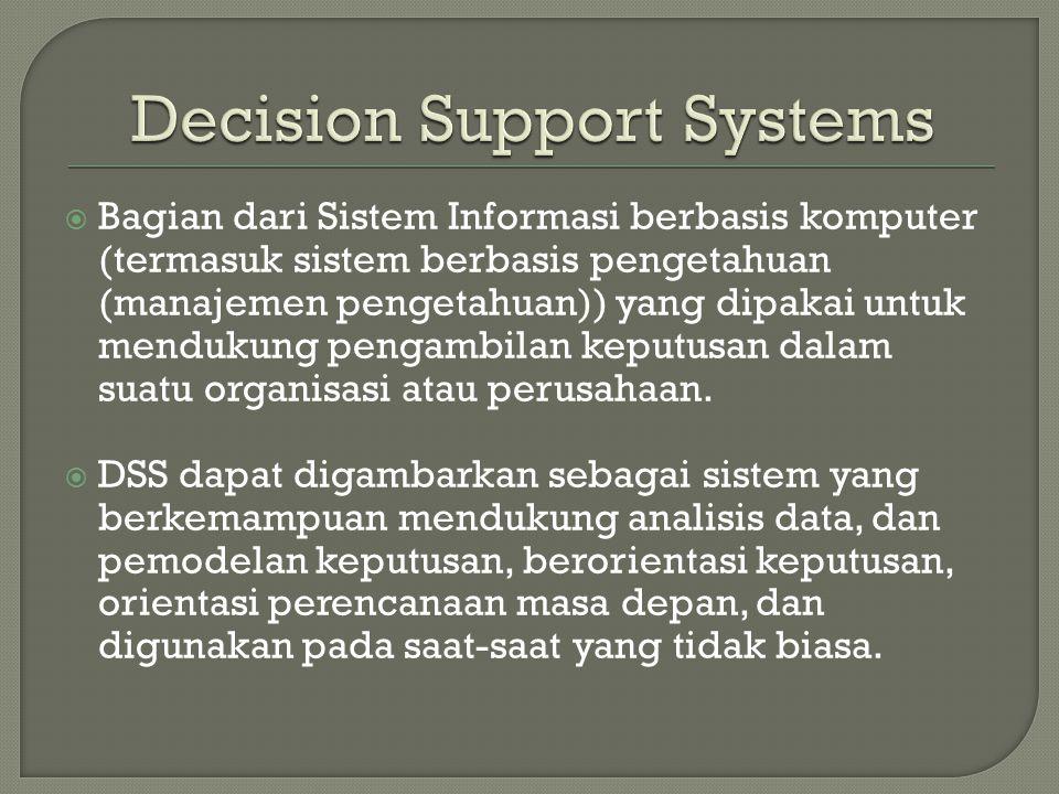  Bagian dari Sistem Informasi berbasis komputer (termasuk sistem berbasis pengetahuan (manajemen pengetahuan)) yang dipakai untuk mendukung pengambilan keputusan dalam suatu organisasi atau perusahaan.