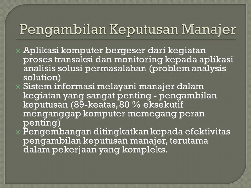  Aplikasi komputer bergeser dari kegiatan proses transaksi dan monitoring kepada aplikasi analisis solusi permasalahan (problem analysis solution) 