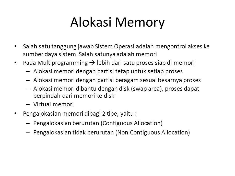 Alokasi Memory • Salah satu tanggung jawab Sistem Operasi adalah mengontrol akses ke sumber daya sistem. Salah satunya adalah memori • Pada Multiprogr