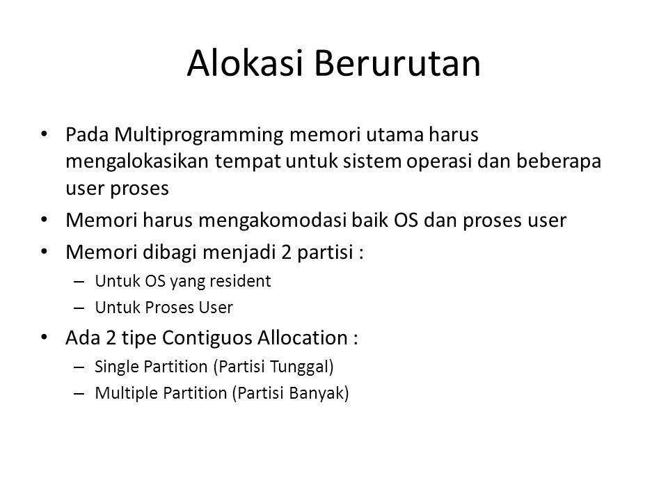 Alokasi Berurutan • Pada Multiprogramming memori utama harus mengalokasikan tempat untuk sistem operasi dan beberapa user proses • Memori harus mengak