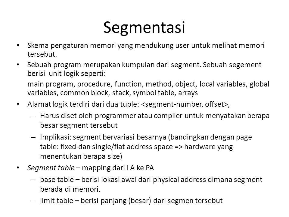 Segmentasi • Skema pengaturan memori yang mendukung user untuk melihat memori tersebut. • Sebuah program merupakan kumpulan dari segment. Sebuah segem