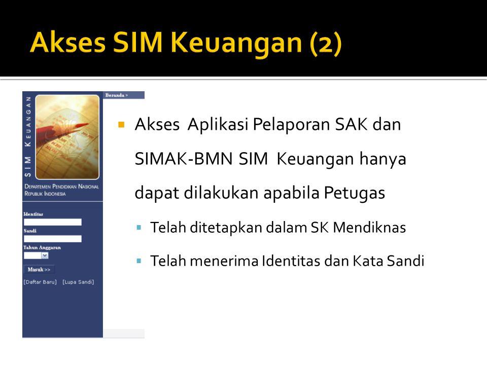  Akses Aplikasi Pelaporan SAK dan SIMAK-BMN SIM Keuangan hanya dapat dilakukan apabila Petugas  Telah ditetapkan dalam SK Mendiknas  Telah menerima Identitas dan Kata Sandi
