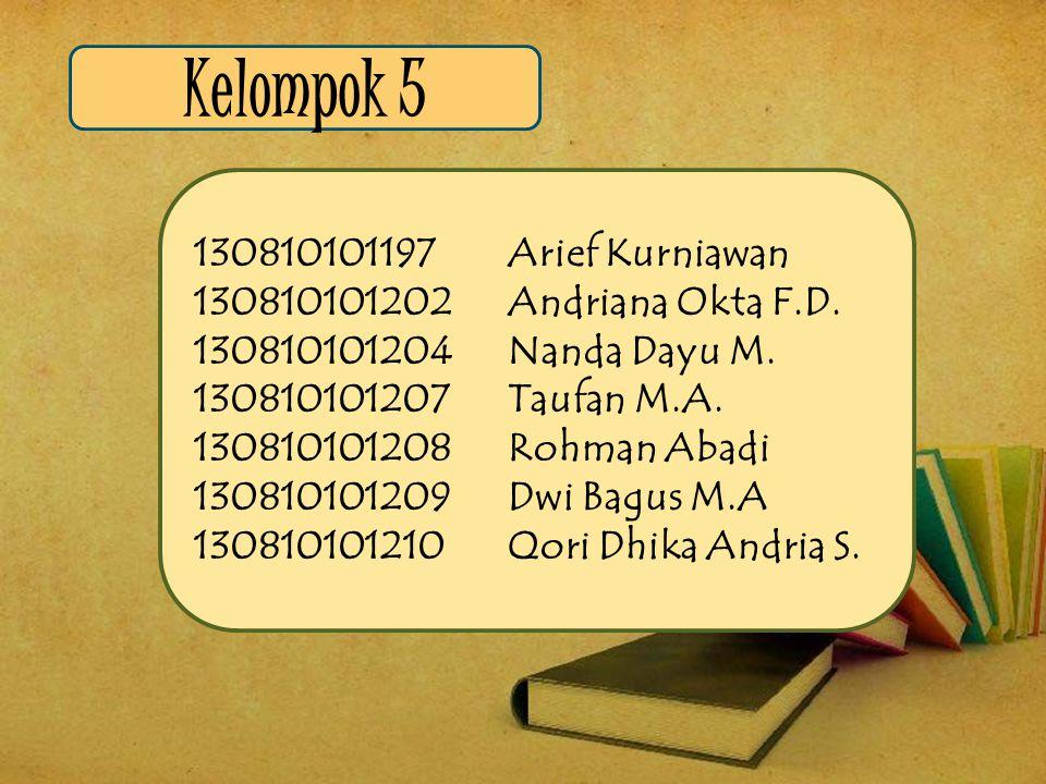 Kelompok 5 130810101197Arief Kurniawan 130810101202 Andriana Okta F.D. 130810101204 Nanda Dayu M. 130810101207 Taufan M.A. 130810101208 Rohman Abadi 1