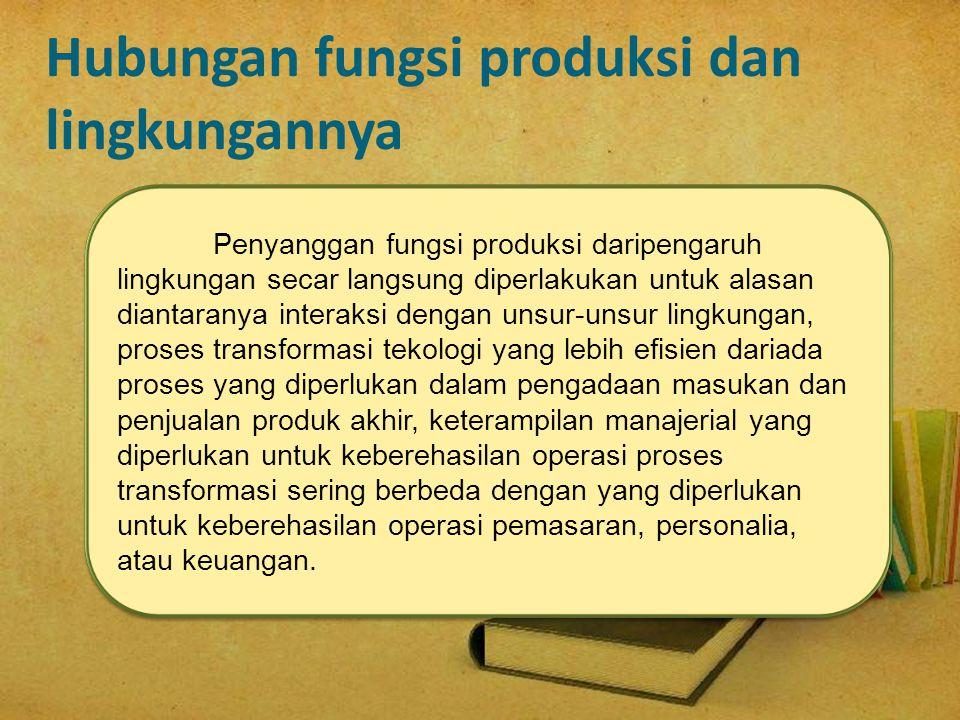 Hubungan fungsi produksi dan lingkungannya Penyanggan fungsi produksi daripengaruh lingkungan secar langsung diperlakukan untuk alasan diantaranya int