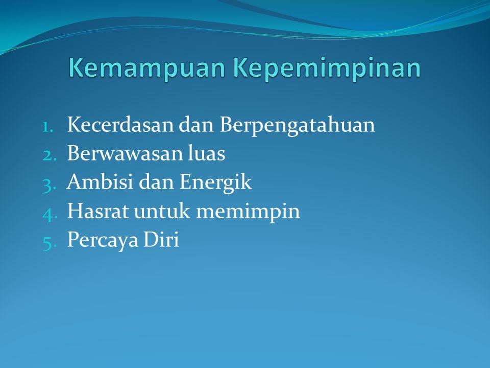 1. Kecerdasan dan Berpengatahuan 2. Berwawasan luas 3. Ambisi dan Energik 4. Hasrat untuk memimpin 5. Percaya Diri
