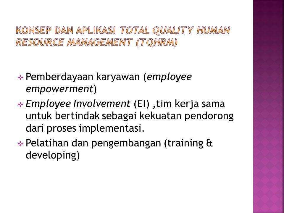  Pemberdayaan karyawan (employee empowerment)  Employee Involvement (EI),tim kerja sama untuk bertindak sebagai kekuatan pendorong dari proses implementasi.