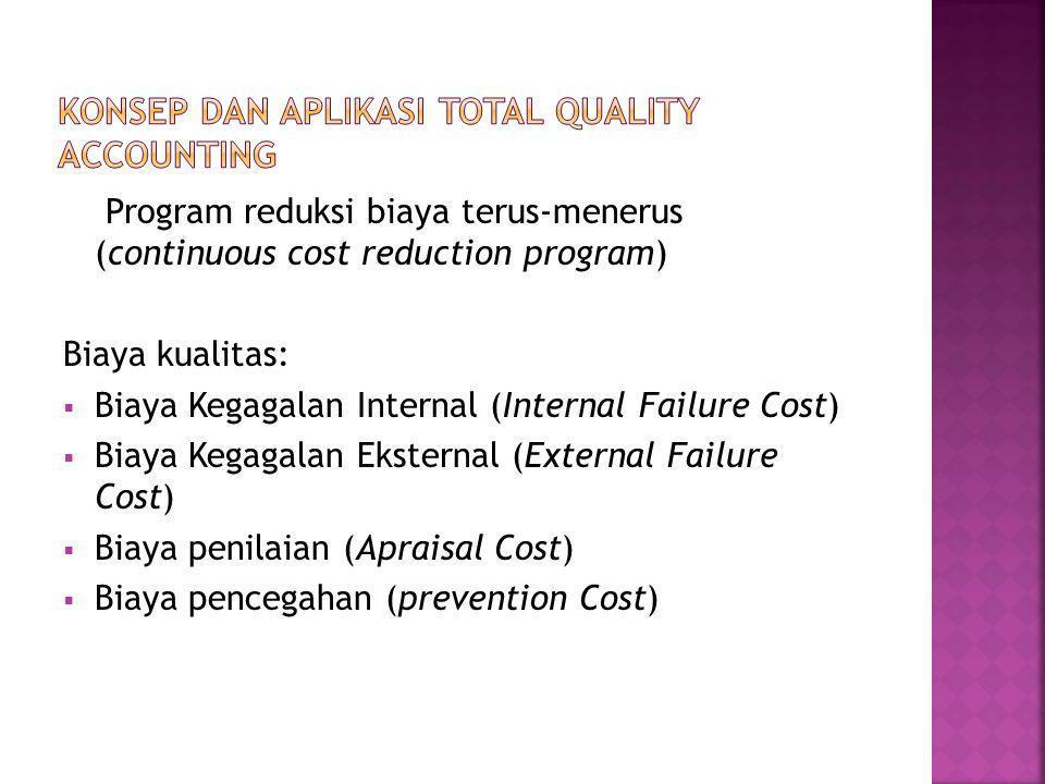 Program reduksi biaya terus-menerus (continuous cost reduction program) Biaya kualitas:  Biaya Kegagalan Internal (Internal Failure Cost)  Biaya Kegagalan Eksternal (External Failure Cost)  Biaya penilaian (Apraisal Cost)  Biaya pencegahan (prevention Cost)