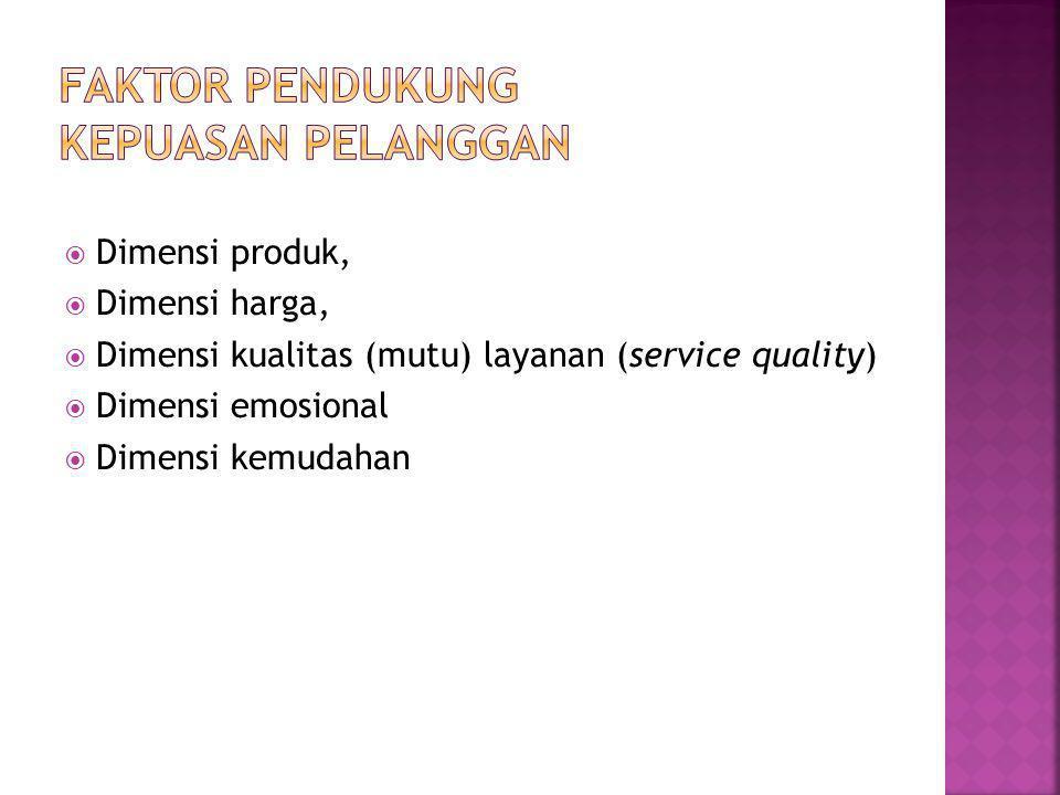  Dimensi produk,  Dimensi harga,  Dimensi kualitas (mutu) layanan (service quality)  Dimensi emosional  Dimensi kemudahan