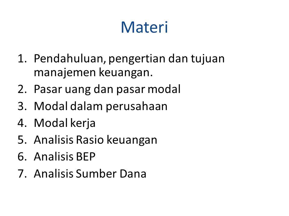Materi 1.Pendahuluan, pengertian dan tujuan manajemen keuangan. 2.Pasar uang dan pasar modal 3.Modal dalam perusahaan 4.Modal kerja 5.Analisis Rasio k