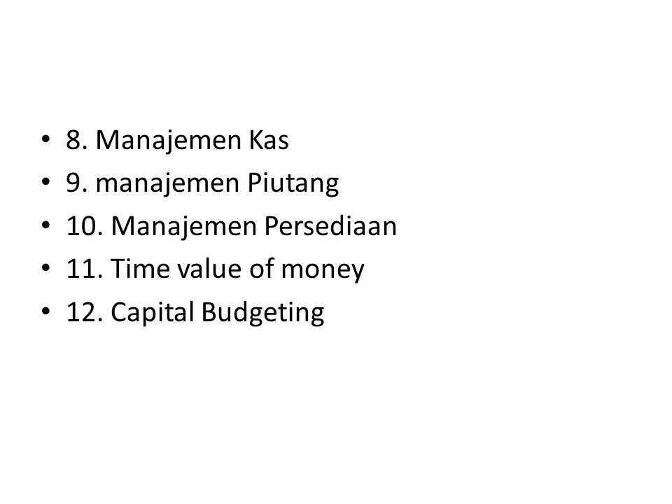 • 8. Manajemen Kas • 9. manajemen Piutang • 10. Manajemen Persediaan • 11. Time value of money • 12. Capital Budgeting