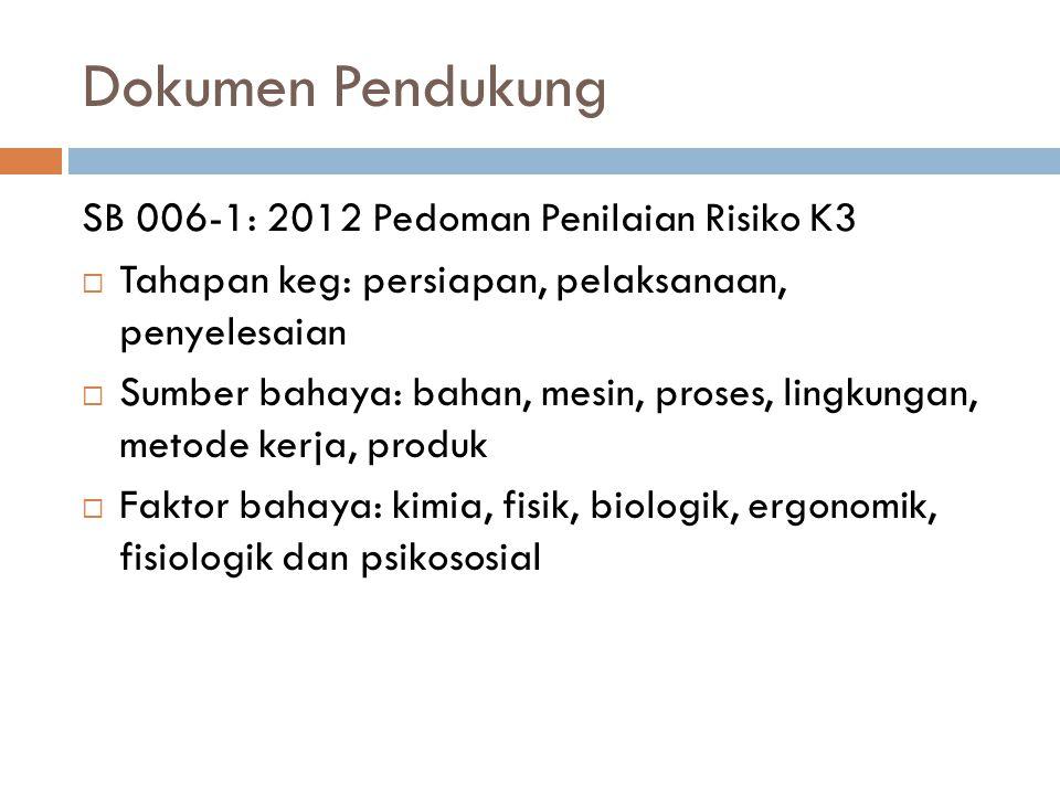 Dokumen Pendukung SB 006-1: 2012 Pedoman Penilaian Risiko K3  Tahapan keg: persiapan, pelaksanaan, penyelesaian  Sumber bahaya: bahan, mesin, proses