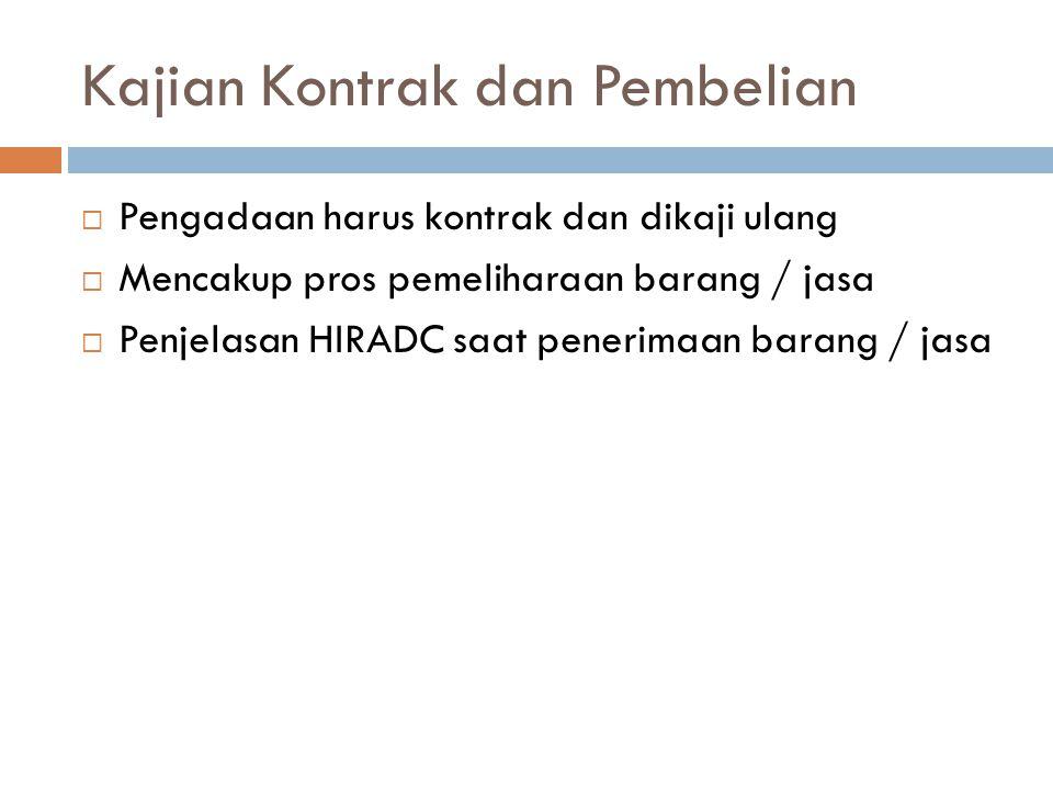 Kajian Kontrak dan Pembelian  Pengadaan harus kontrak dan dikaji ulang  Mencakup pros pemeliharaan barang / jasa  Penjelasan HIRADC saat penerimaan