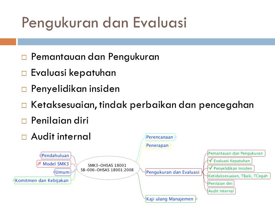 Pengukuran dan Evaluasi  Pemantauan dan Pengukuran  Evaluasi kepatuhan  Penyelidikan insiden  Ketaksesuaian, tindak perbaikan dan pencegahan  Pen