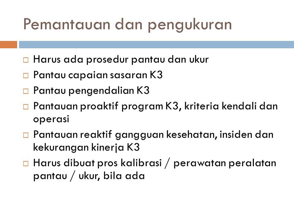 Pemantauan dan pengukuran  Harus ada prosedur pantau dan ukur  Pantau capaian sasaran K3  Pantau pengendalian K3  Pantauan proaktif program K3, kr